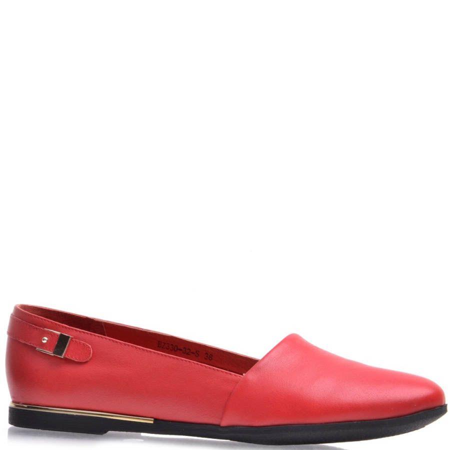 Балетки Prego кожаные красные с декоративной пряжкой