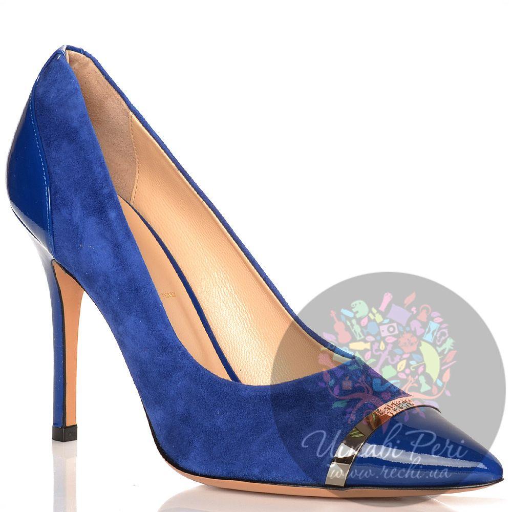 Туфли Baldinini на шпильке синие замшевые с лаковыми кожаными деталями