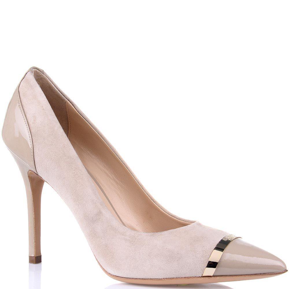 Замшевые туфли Baldinini бежевого цвета на шпильке