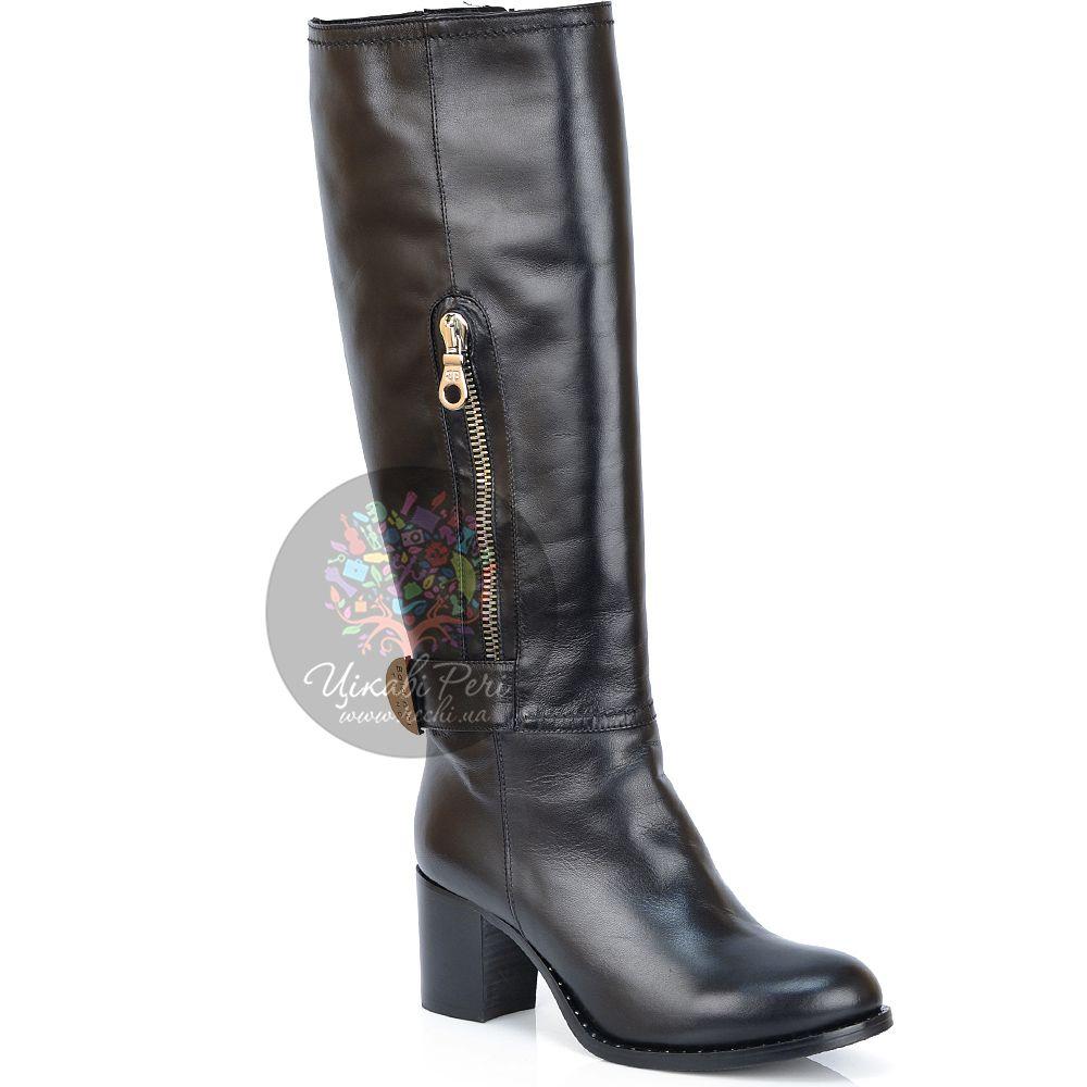 Сапоги Baldinini зимние черные на устойчивом каблуке с круглым носком