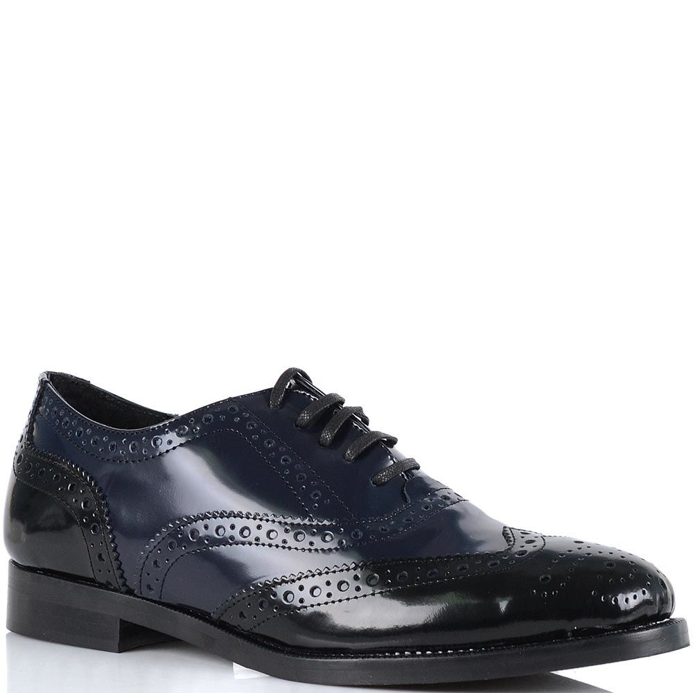 Женские туфли Bianca Di кожаные черно-синие