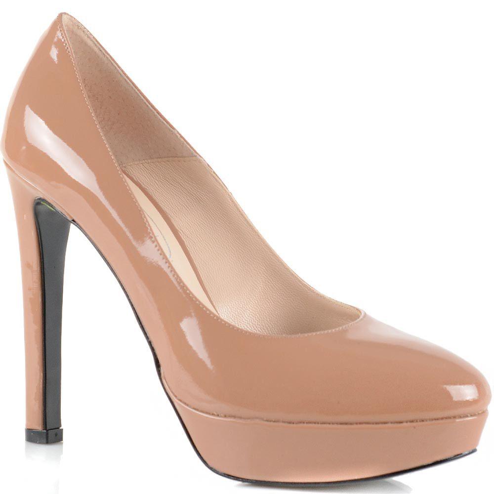 Туфли Bianca Di кожаные темно-бежевые лаковые на высоком каблуке и платформе