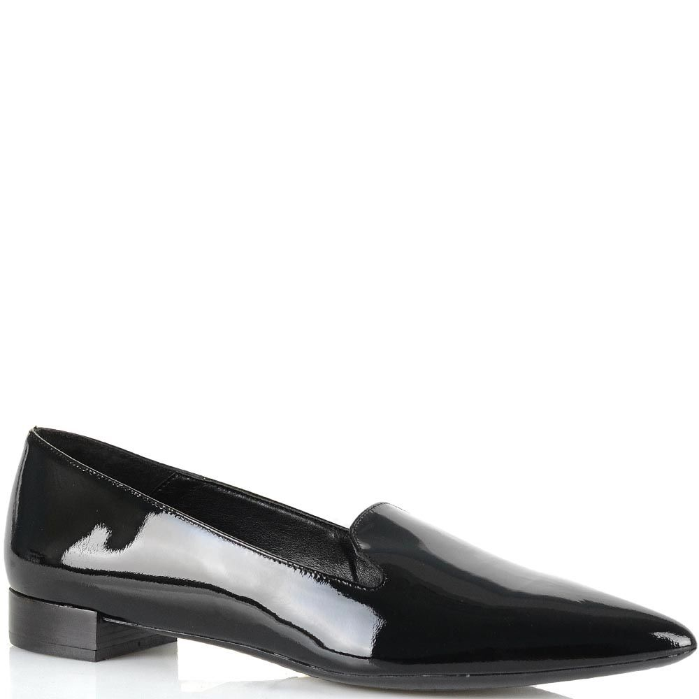 Лоферы Bianca Di кожаные черные лаковые женские с зауженным носком
