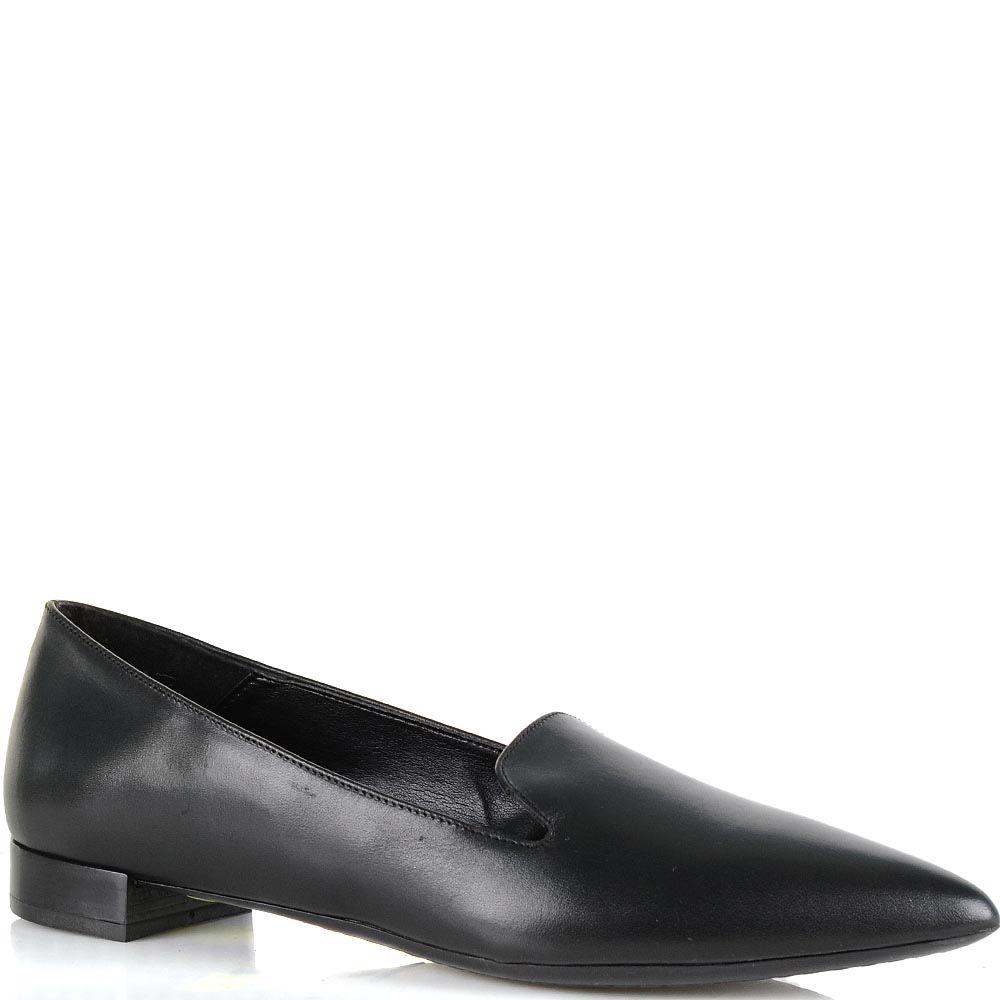 Лоферы Bianca Di из гладкой черной натуральной кожи с зауженным носком