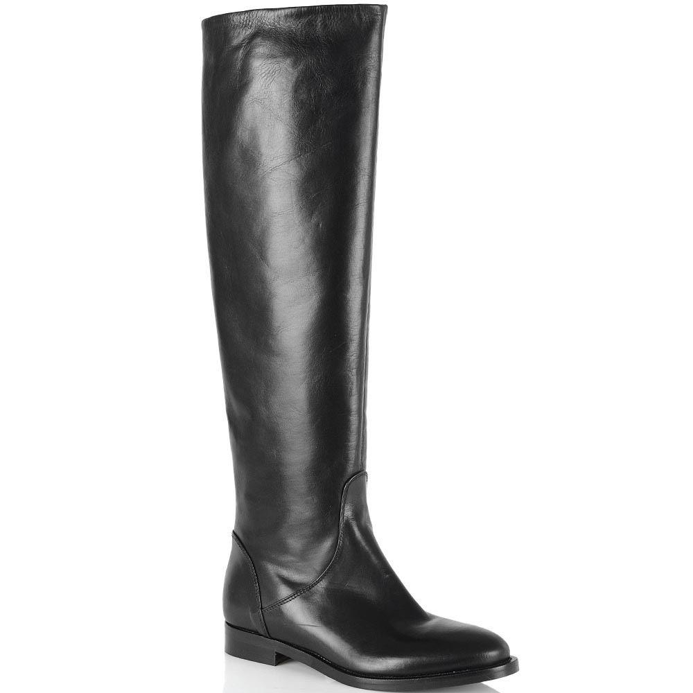 Сапоги-ботфорты Bianca Di кожаные черные на низком ходу