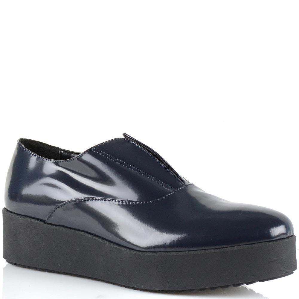 Туфли-полуботинки на платформе Bianca Di кожаные темно-синие глянцевые