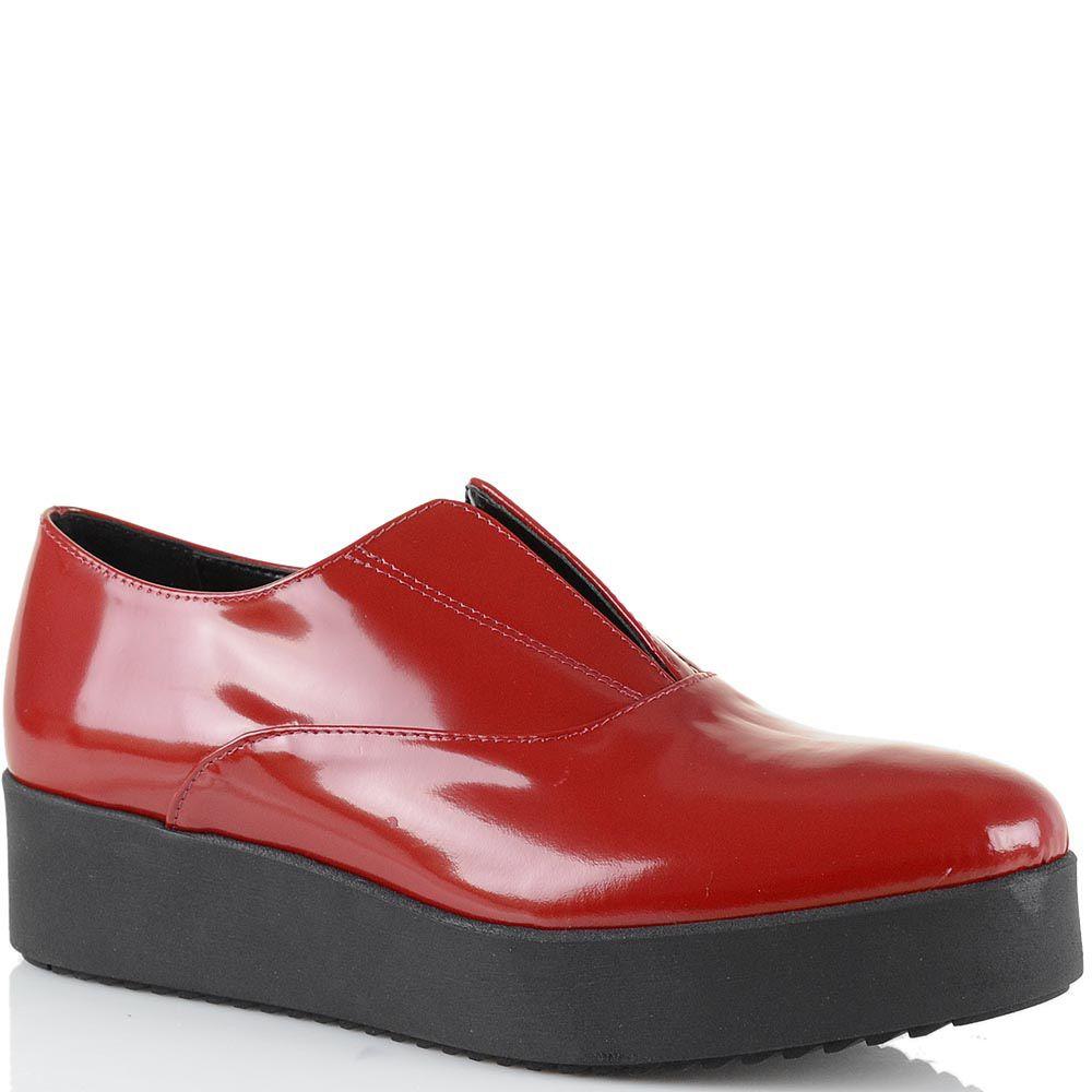 Туфли-полуботинки на платформе Bianca Di из красной полированной натуральной кожи