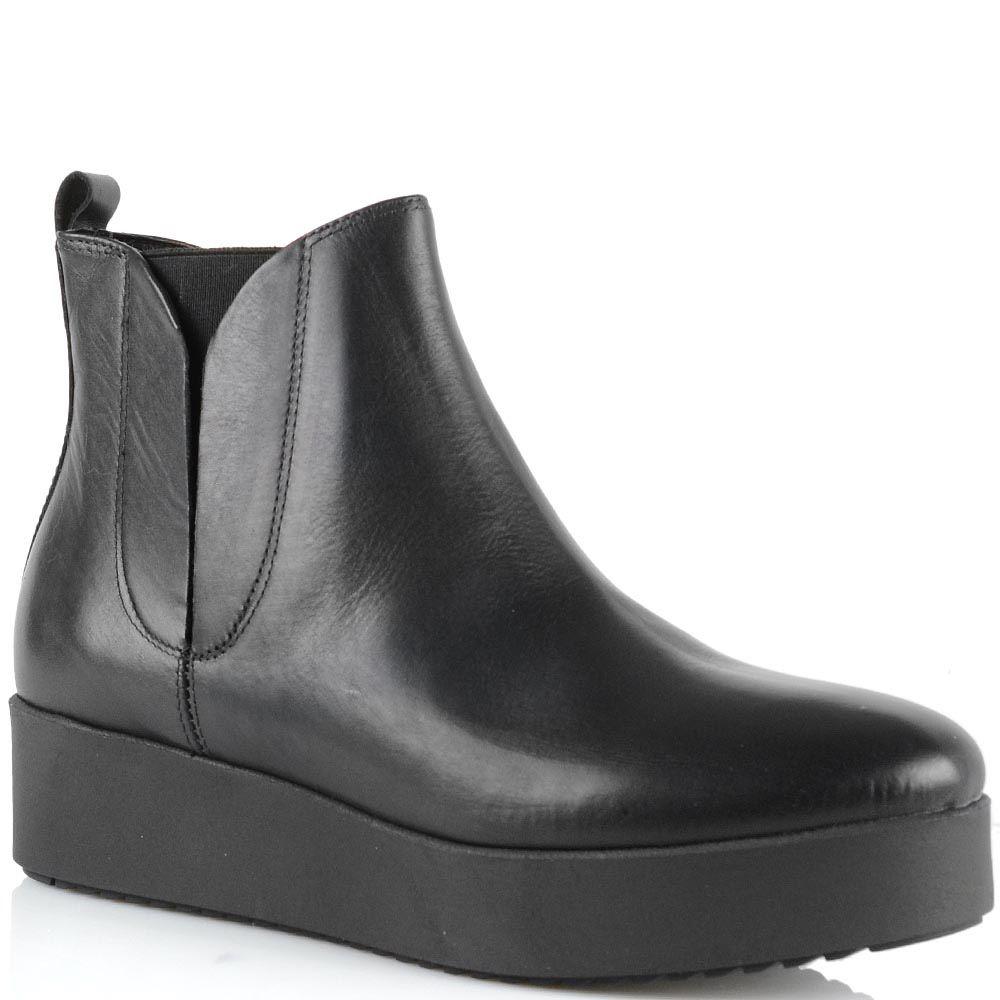 Ботинки на платформе Bianca Di кожаные черные