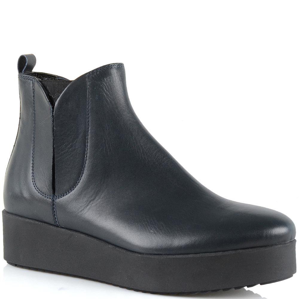Ботинки на платформе Bianca Di кожаные темно-синие