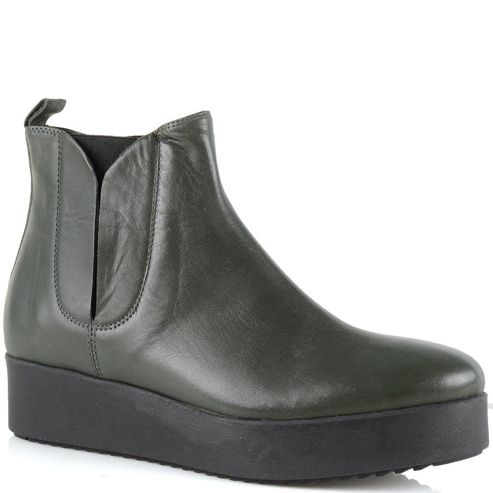 Ботинки на платформе Bianca Di кожаные темно-оливковые