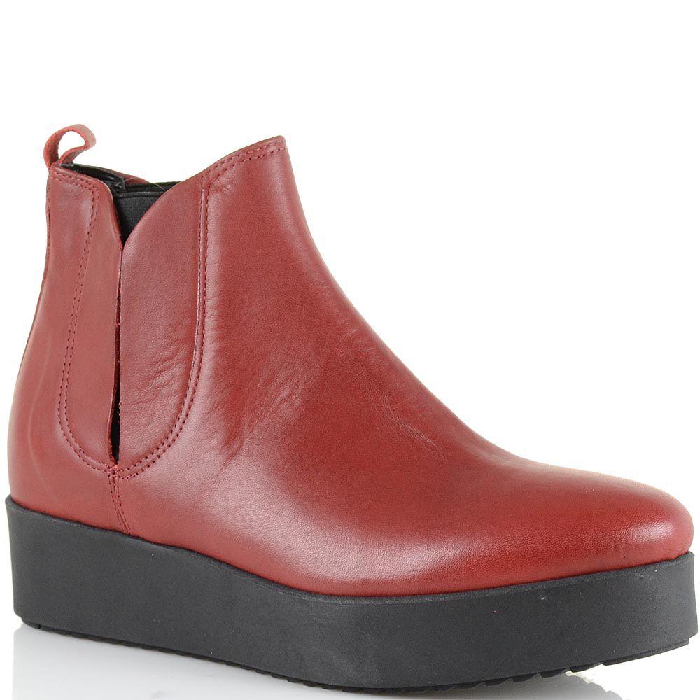 Ботинки на платформе Bianca Di кожаные темно-красные