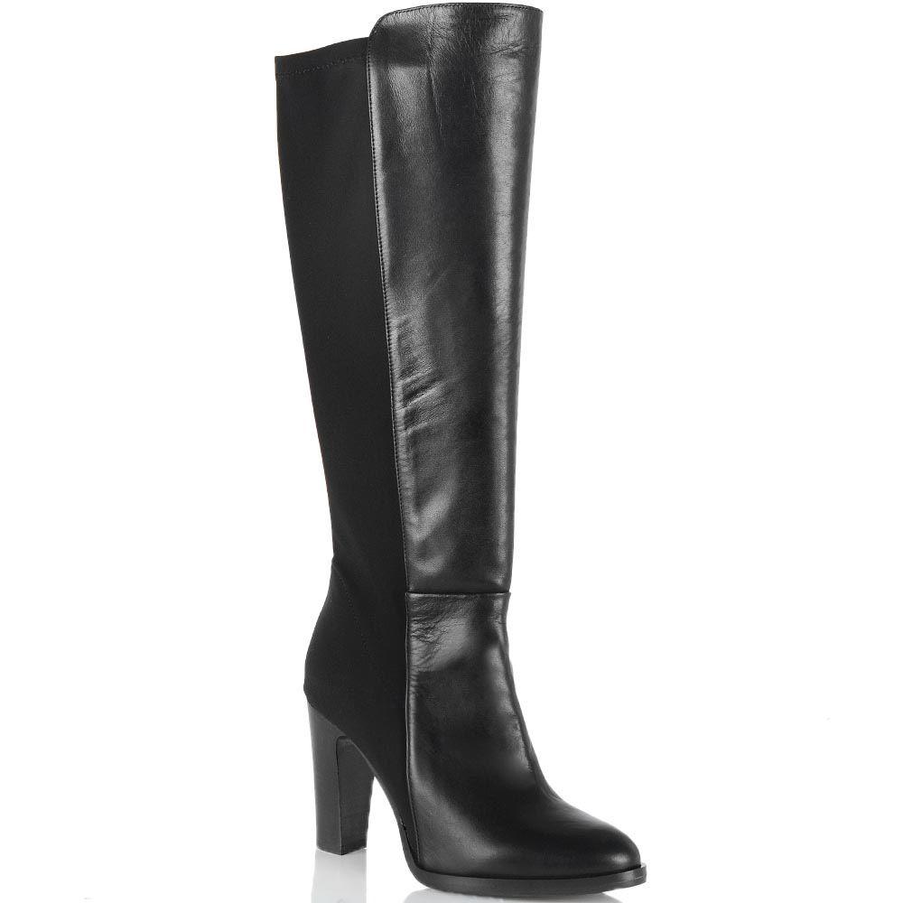 Черные сапоги Bianca Di кожаные со стрейчевой вставкой сзади