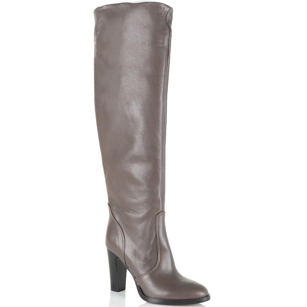 Сапоги-ботфорты Bianca Di кожаные светло-коричневые с серым оттенком
