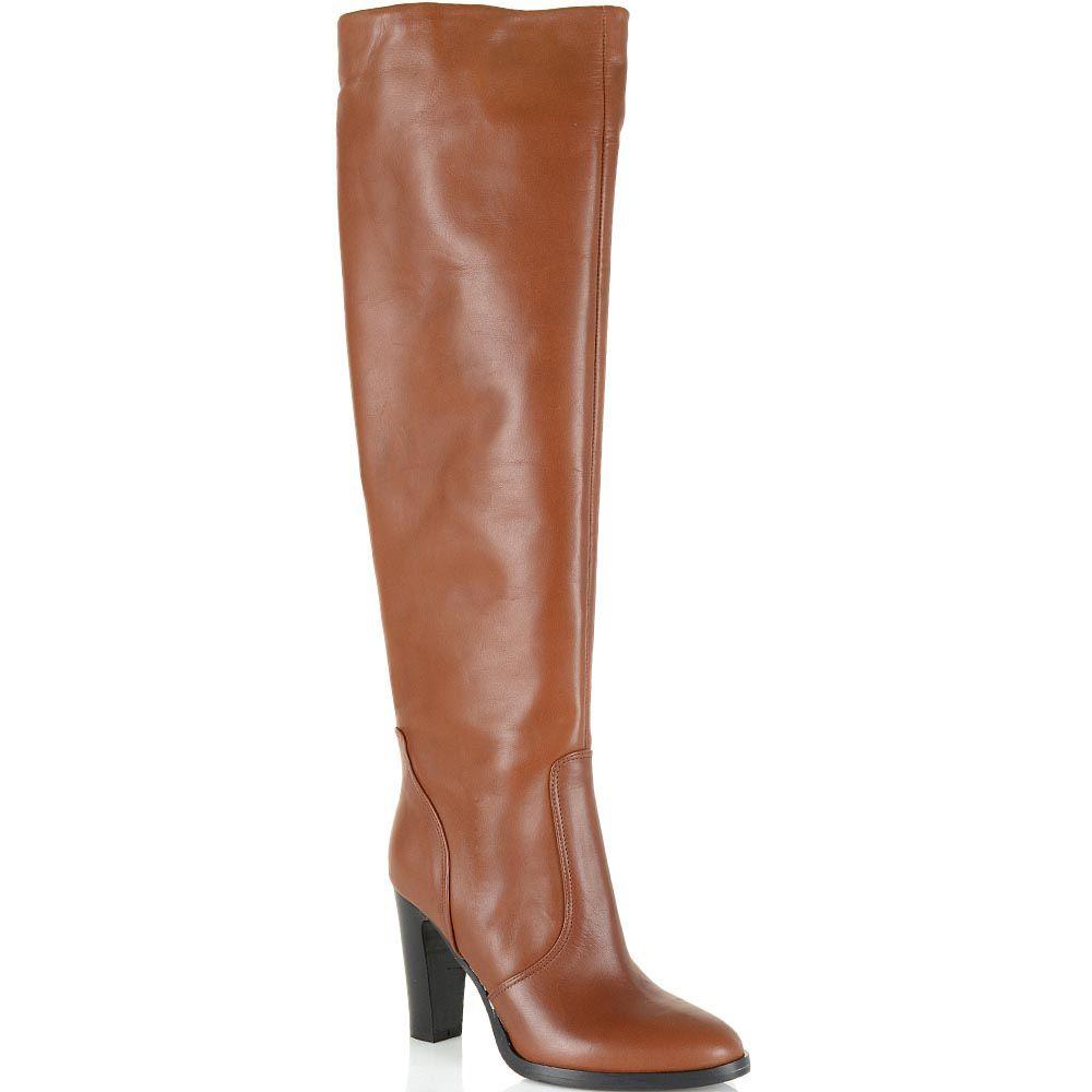 Сапоги-ботфорты Bianca Di кожаные коричнево-рыжие