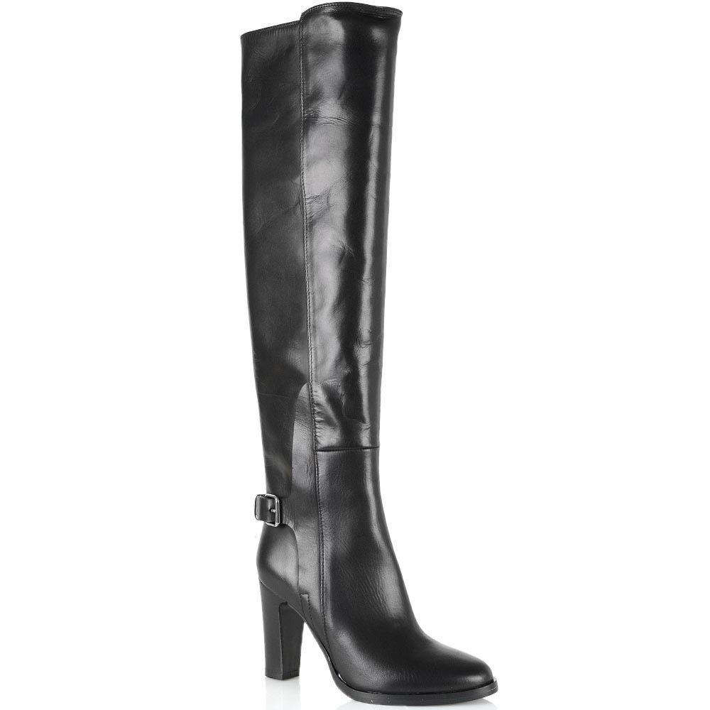 Сапоги-ботфорты Bianca Di кожаные черные глянцевые