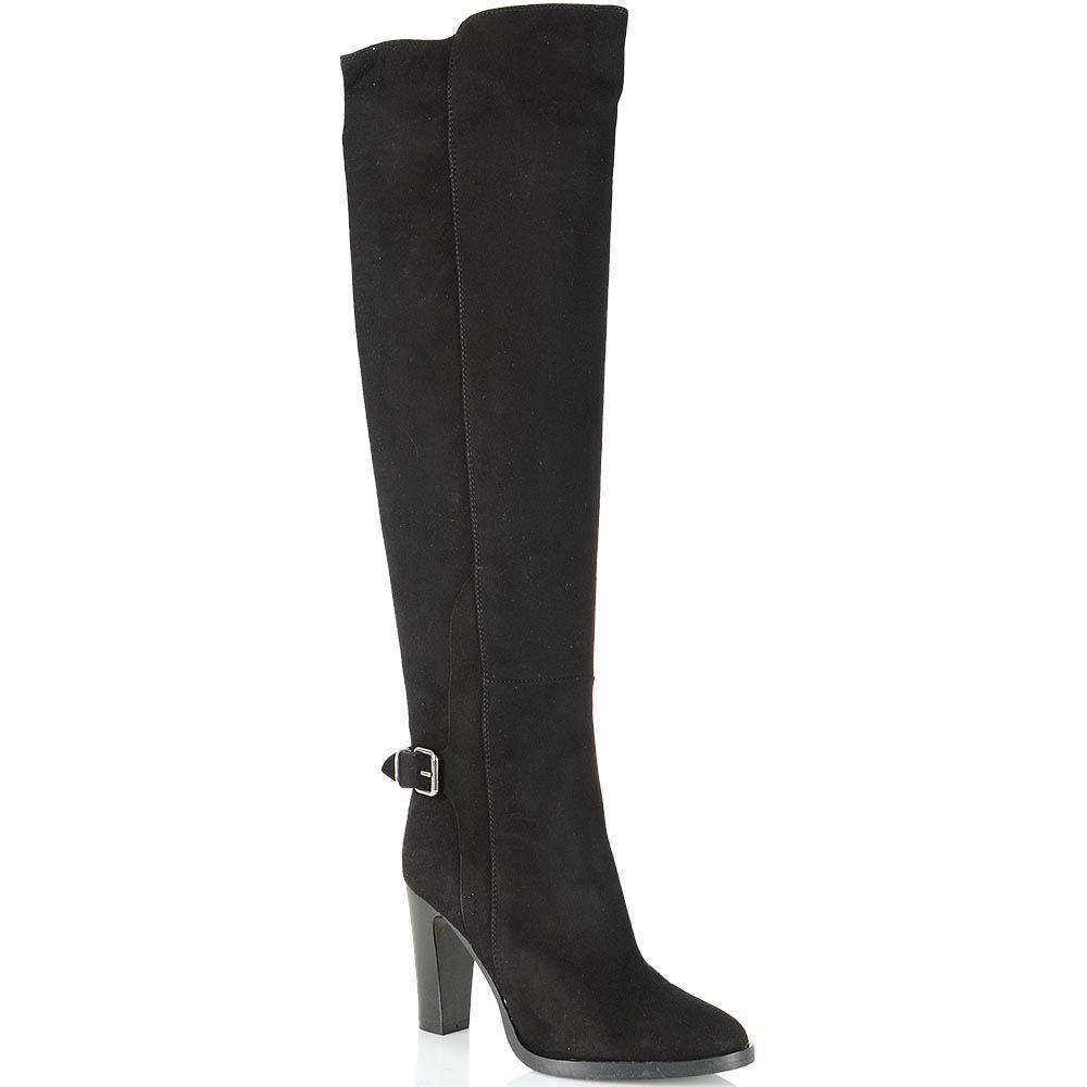 Сапоги-ботфорты Bianca Di замшевые черные с асимметричным верхом