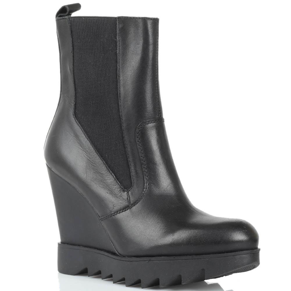 Кожаные ботинки черного цвета Studio Italia на рельефной платформе