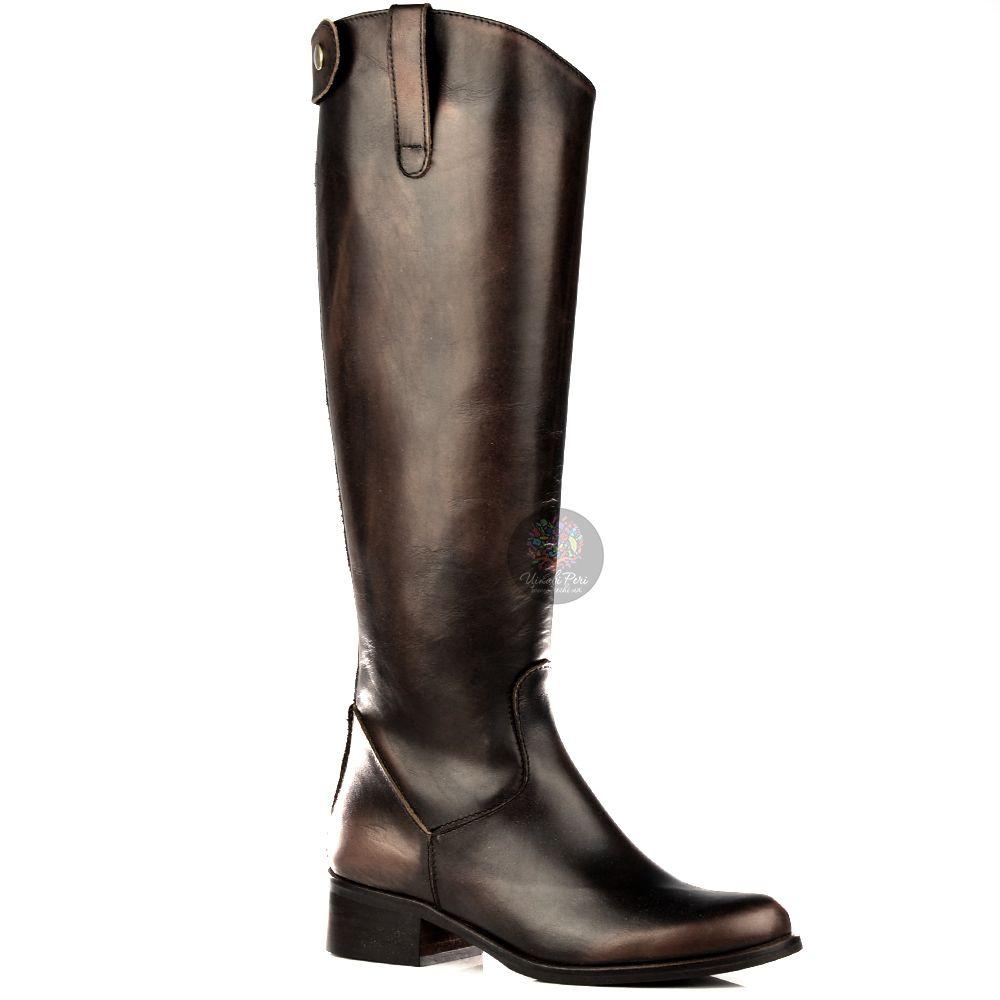 Сапоги Bluzi осенние высокие темно-коричневые в жокейском стиле
