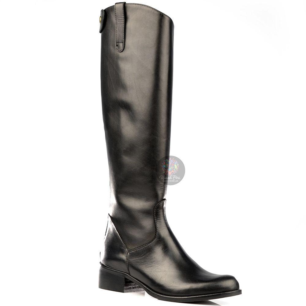 Сапоги Bluzi осенние высокие черные в жокейском стиле