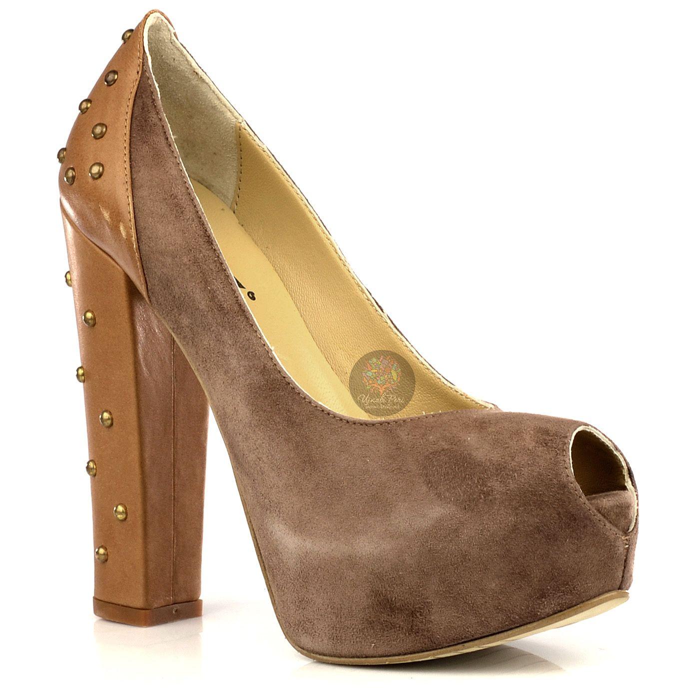 Туфли Bluzi из замши цвета какао и светло-коричневой кожи с заклепками