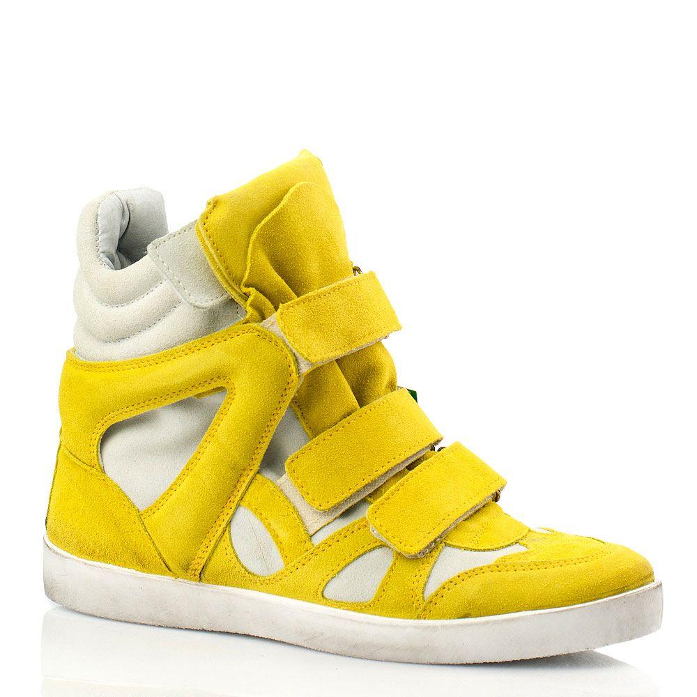 Замшевые кеды на платформе Bluzi ярко-желтые
