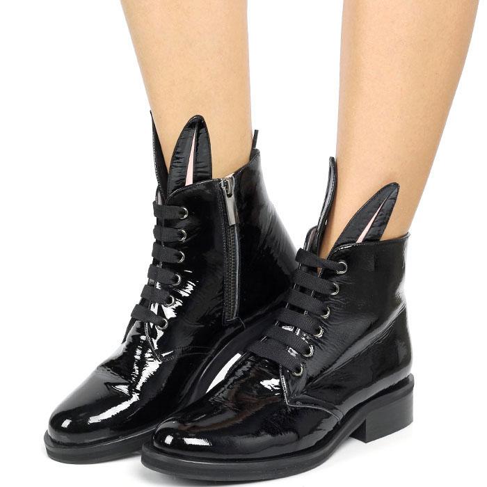 Черные кожаные ботинки Minna Parikka Bunny на шнуровке с ушками