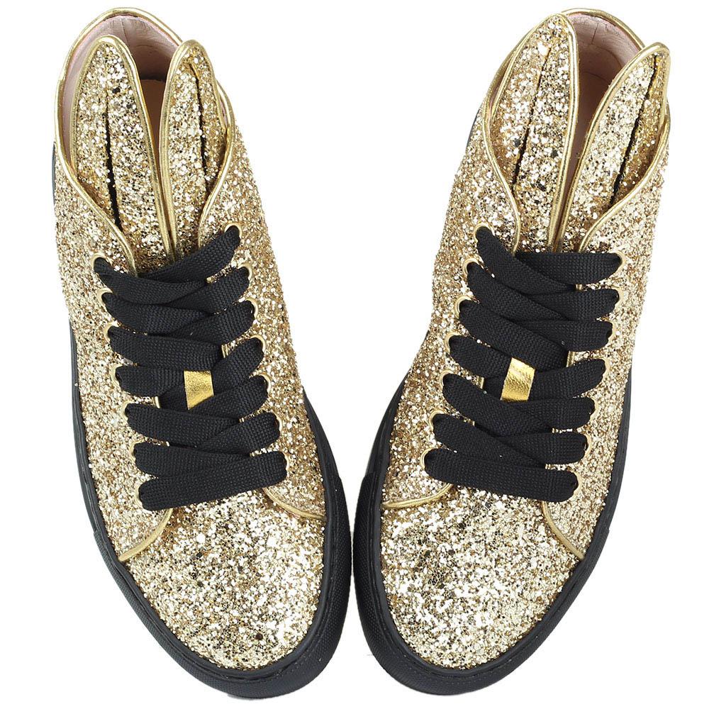 Кеды Minna Parikka Bunny Glitter золотого цвета с ушками