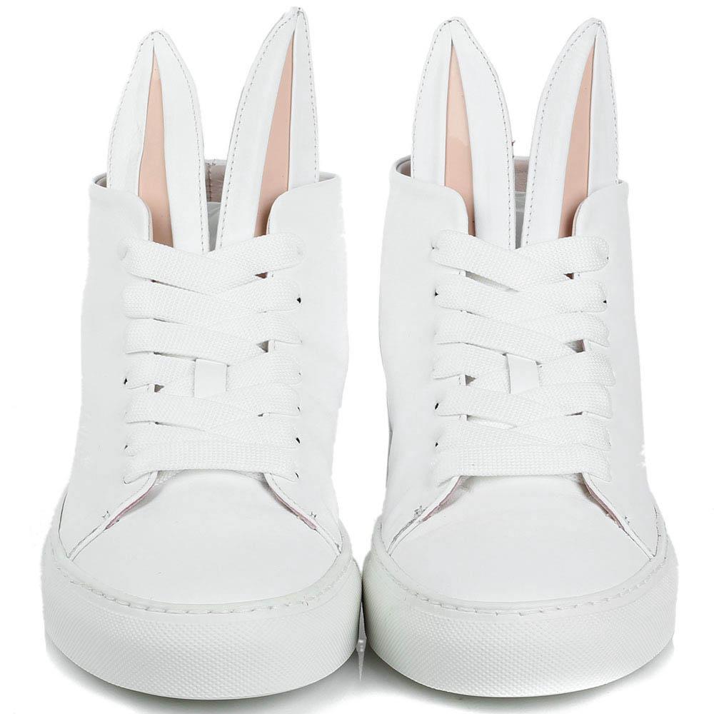 Белые высокие кеды Minna Parikka Bunny  из кожи с ушками и хвостиком на белой подошве