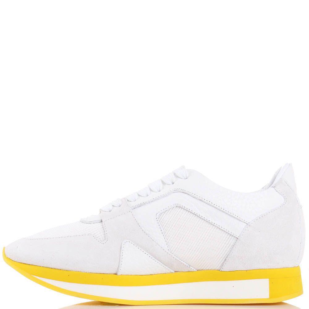 Женские кроссовки Burberry белого цвета на желтой подошве