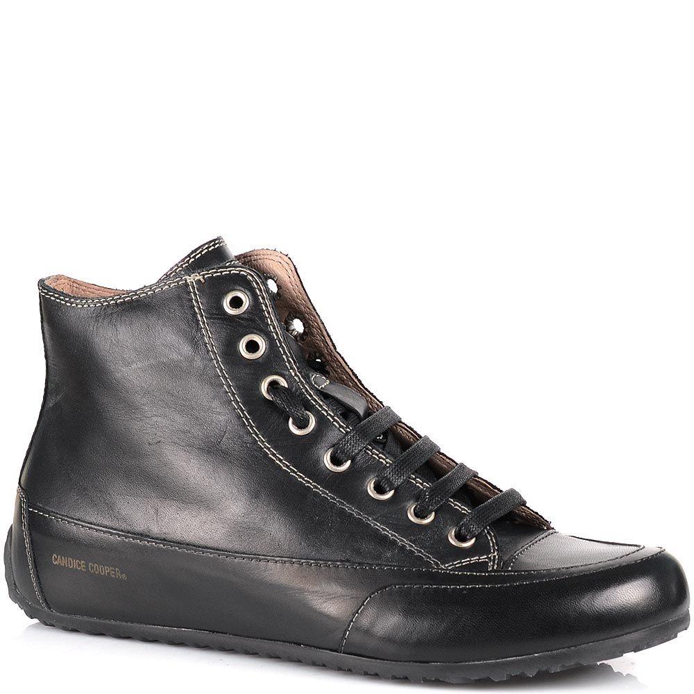 Кожаные кеды Candice Cooper черного цвета на низком ходу на шнуровке
