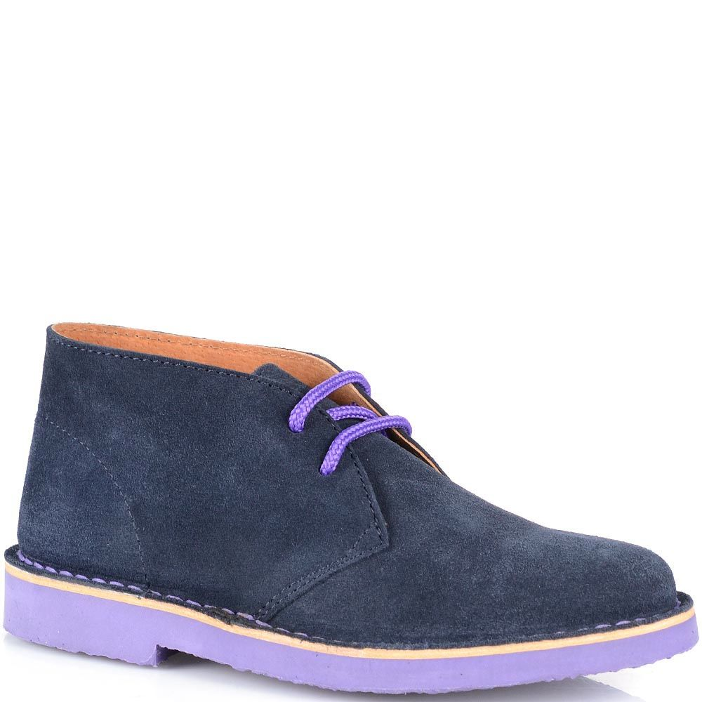 Замшевые ботинки Cafe Noir темно-синего цвета на фиолетовой подошве