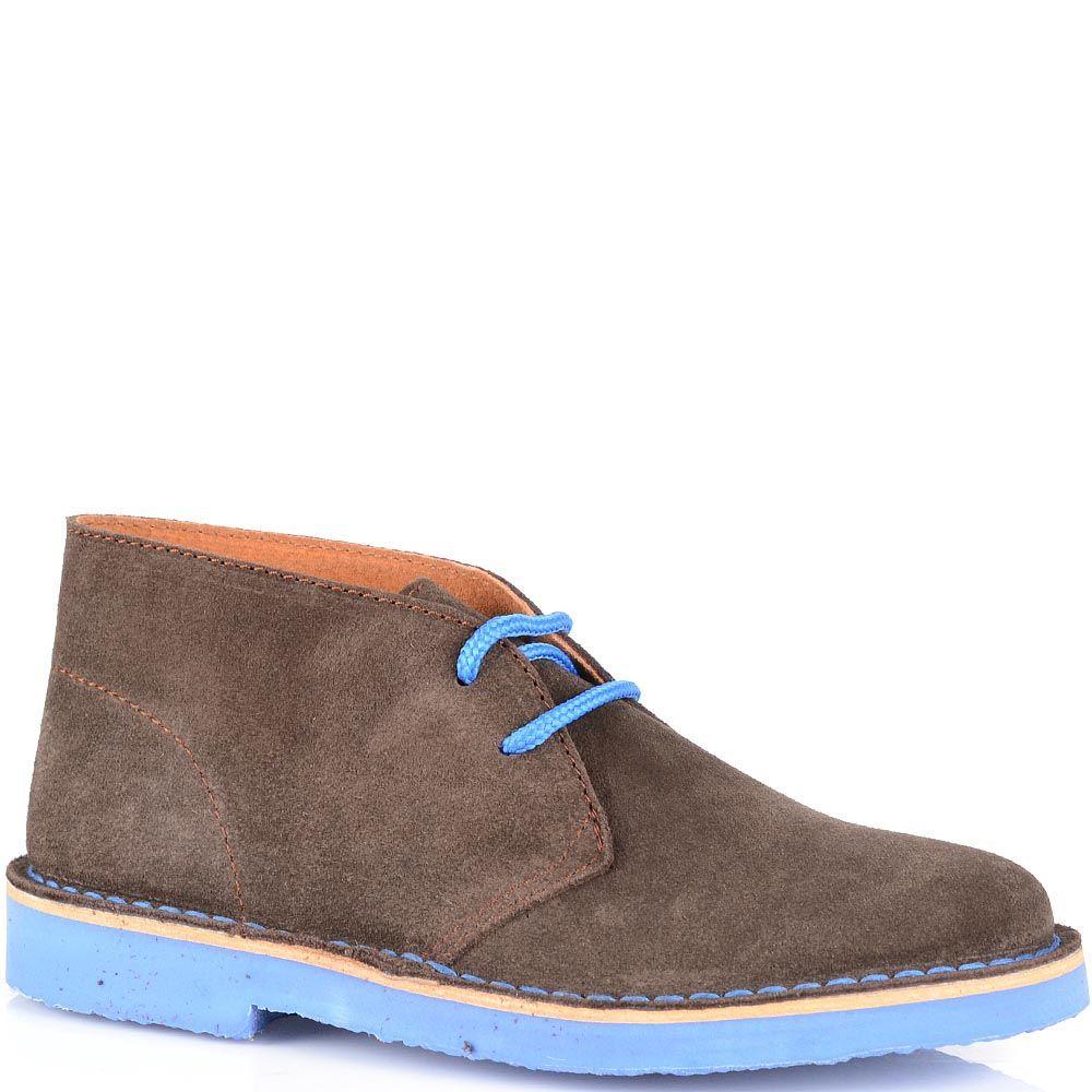 Замшевые ботинки Cafe Noir кофейного цвета на голубой подошве