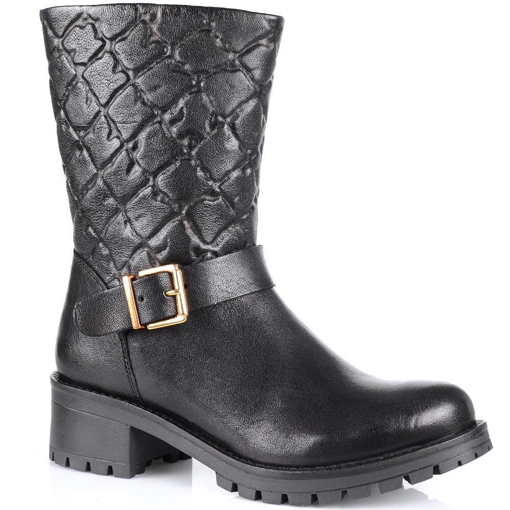 Высокие ботинки Cafe Noir с имитацией стеганного верха на протекторной подошве