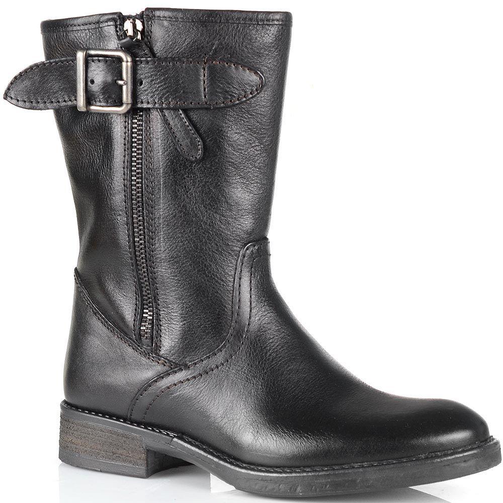 Высокие ботинки Cafe Noir из черной кожи с молнией с внешней стороны