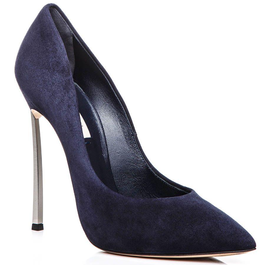 Лодочки Casadei темно-синего цвета замшевые со стальным каблуком-шпилькой