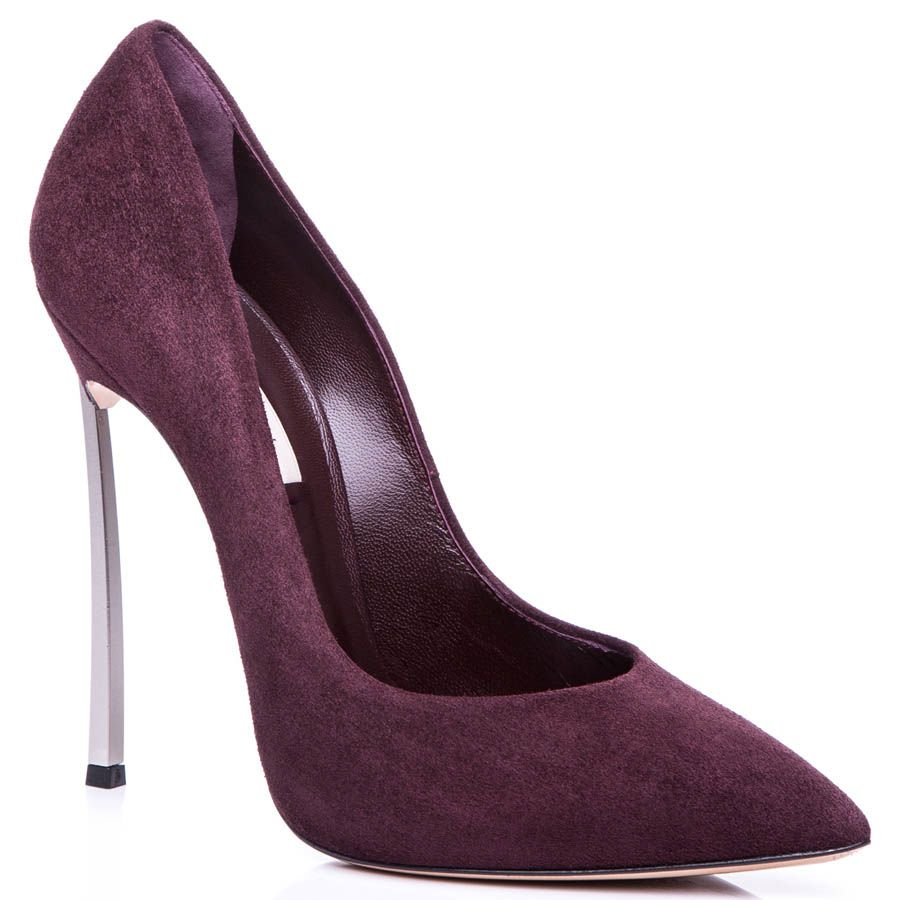 Лодочки Casadei бордового цвета замшевые со стальным каблуком-шпилькой
