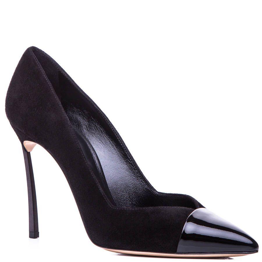 Туфли-лодочки Casadei черного цвета замшевые с лаковым носком и стальным каблуком-шпилькой