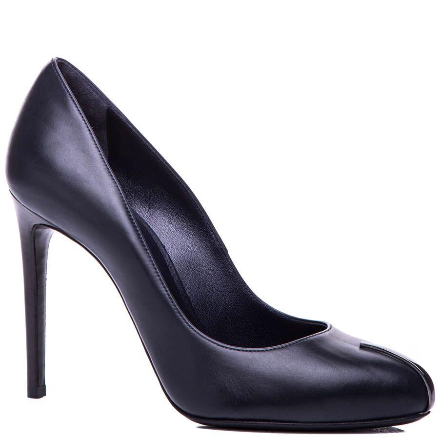 Туфли-лодочки Casadei темно-синего цвета с металлической вставкой на носке
