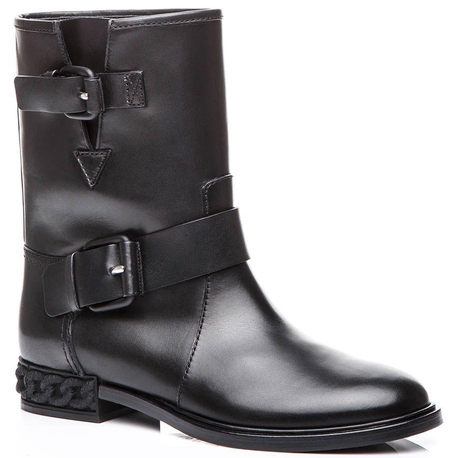 Ботинки Casadei черного цвета с широким голенищем и декоративными пряжками