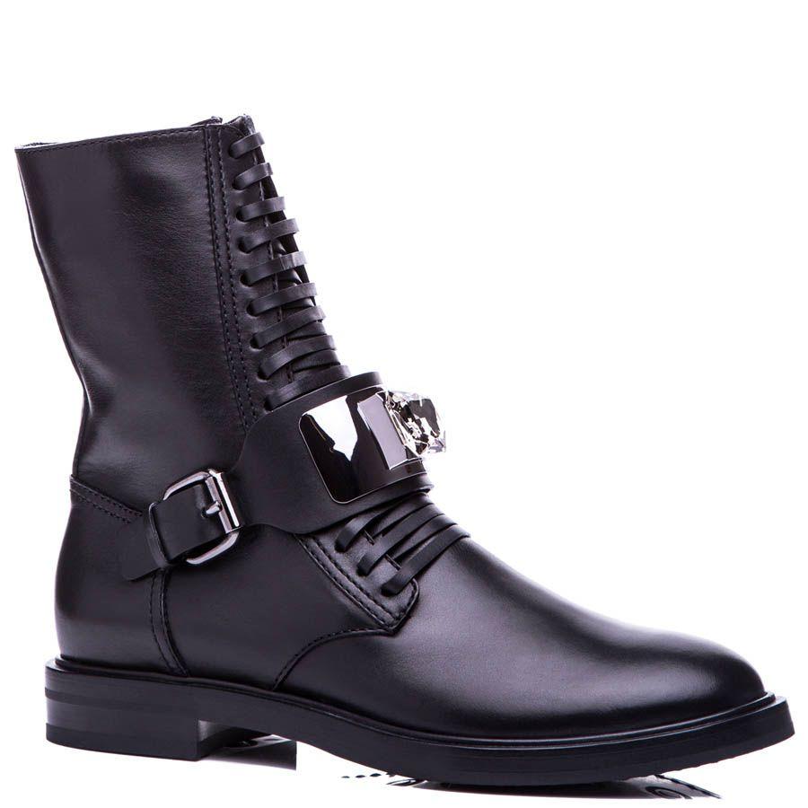Ботинки Casadei черного цвета на шнуровке с перемычкой украшенной кристаллом