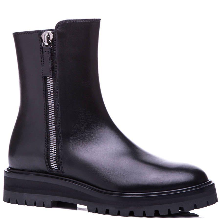 Ботинки Casadei черного цвета с рельефной подошвой и металлической молнией