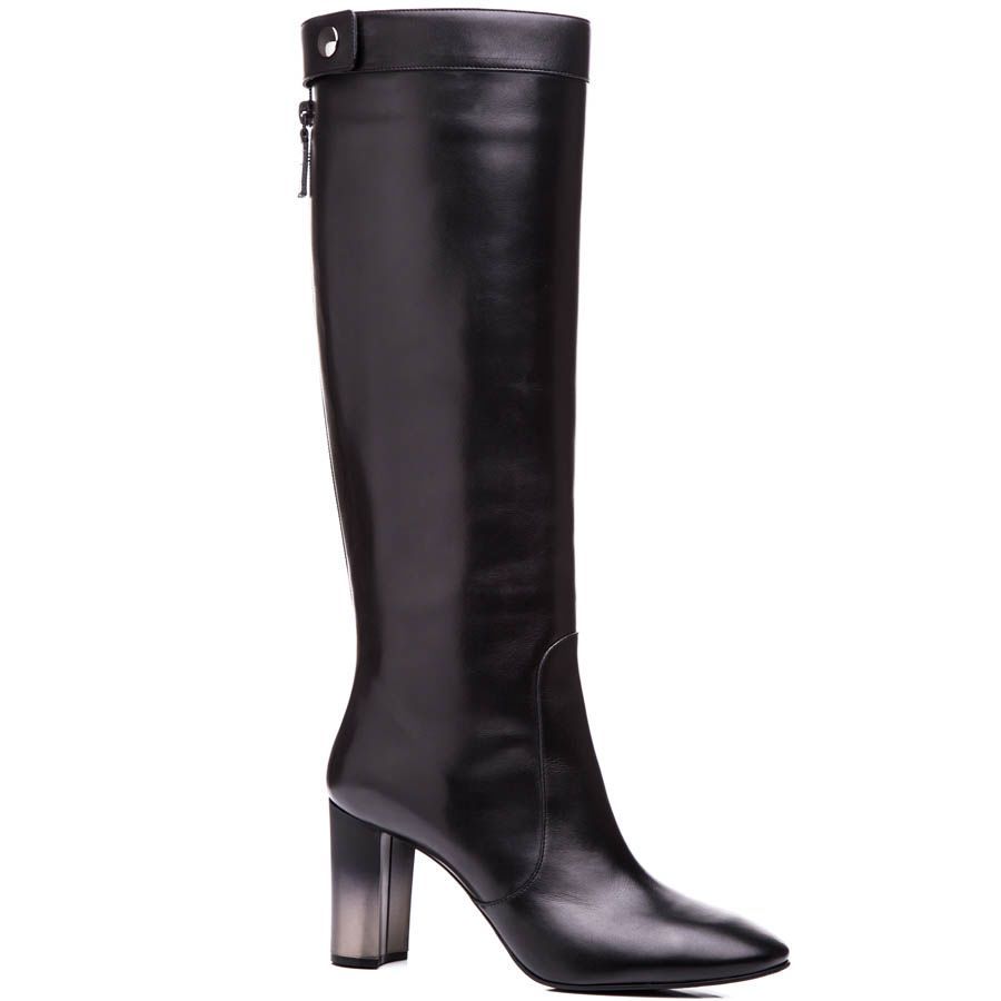 Сапоги Casadei осенние черного цвета на устойчивом каблуке с эффектом деграде