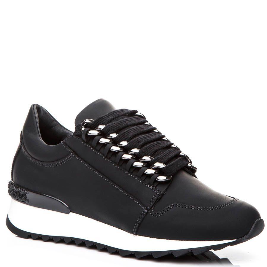 Кроссовки Casadei черного цвета с металлическими цепочками для шнуровки