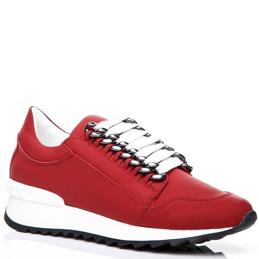 Кроссовки Casadei красного цвета с металлическими цепочками для шнуровки