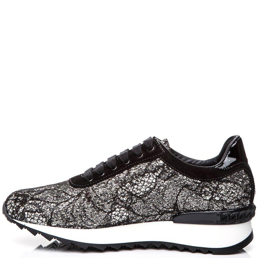 Кроссовки Casadei черного цвета с отделкой серебристым кружевом