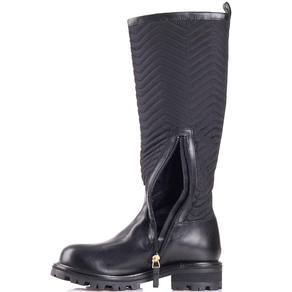 Черные сапоги Twin-Set с текстильным голенищем