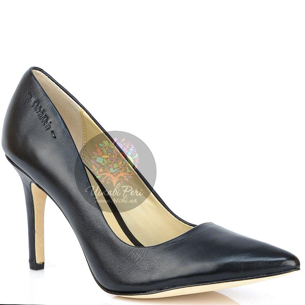 Лодочки Calvin Klein классические на средней шпильке кожаные черные