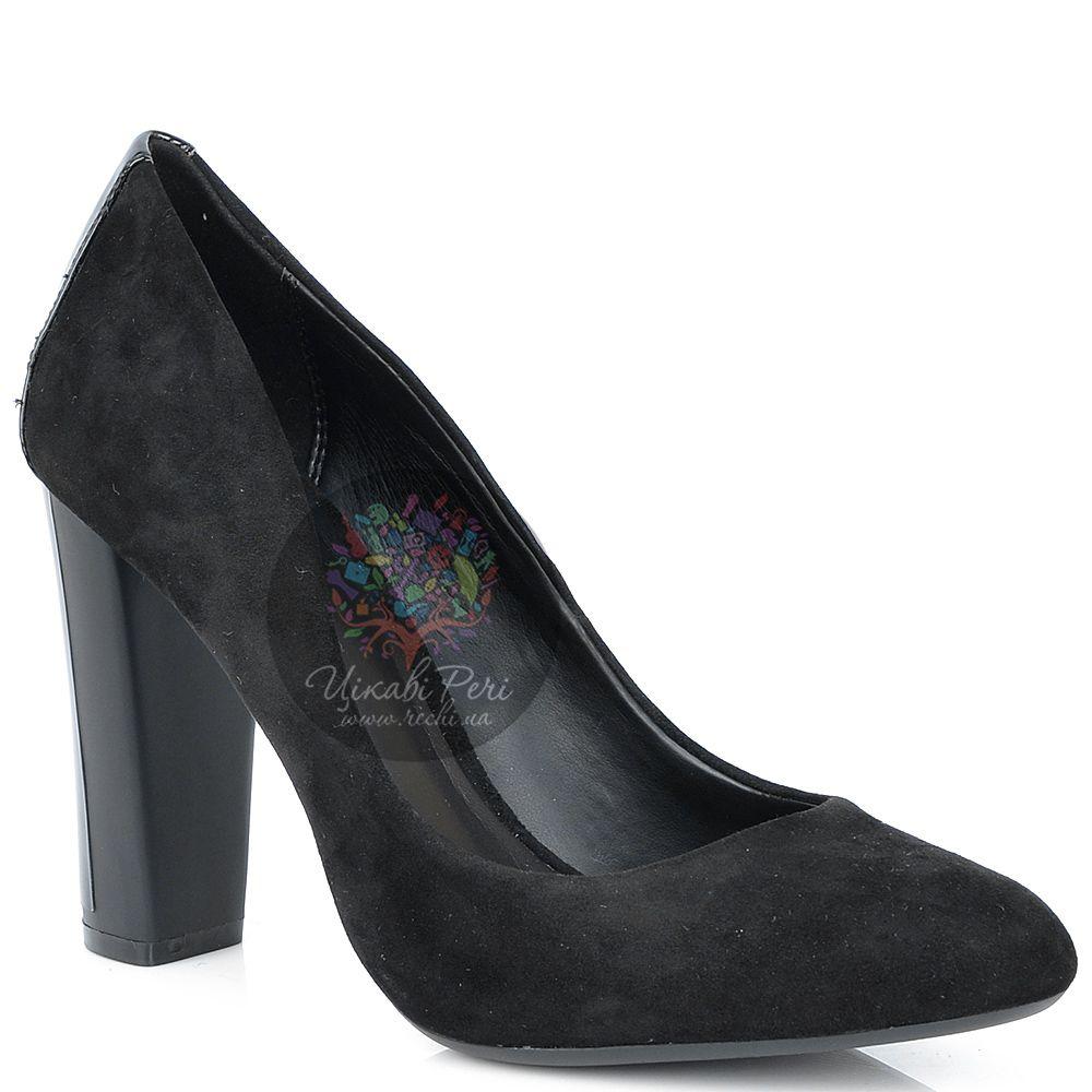 Туфли Calvin Klein черные замшевые на каблуке-столбике с лаковым декором