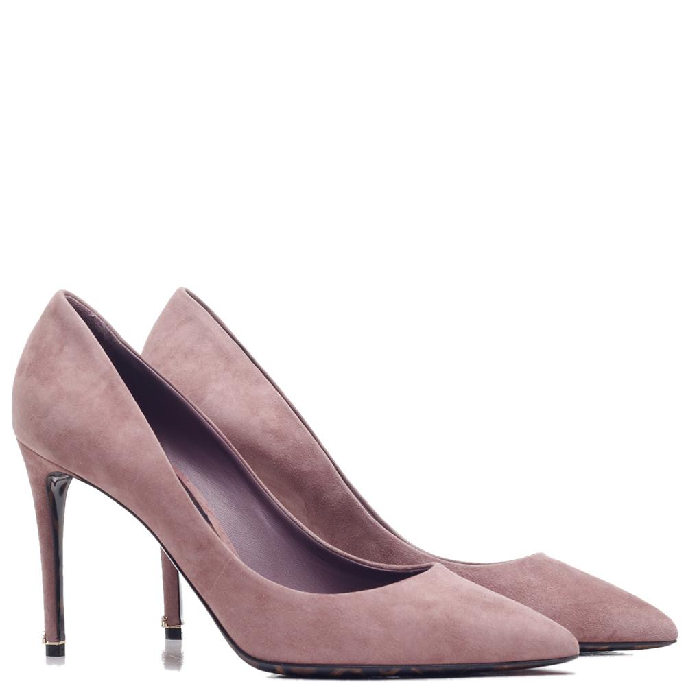 Розовые туфли Dolce&Gabbana с брендовый элементом на каблуке