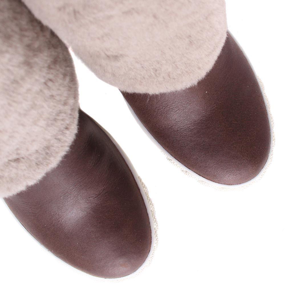 Сапоги Casadei коричневые кожаные с меховым отворотом